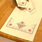 Soft Petals Table Runner & Napkins Cross Stitch Kit   5 Piece Set  New