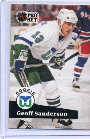 Rookie Geoff Sanderson 1991/92 Pro Set #536 NHL Hockey Card Near Mint Condition