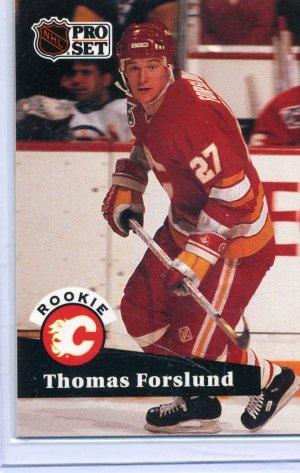 Rookie Thomas Forslund 1991/92 Pro Set #527 NHL Hockey Card Near Mint Condition