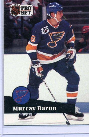 Murray Baron 91/92 Pro Set #472 NHL Hockey Card Near Mint Condition