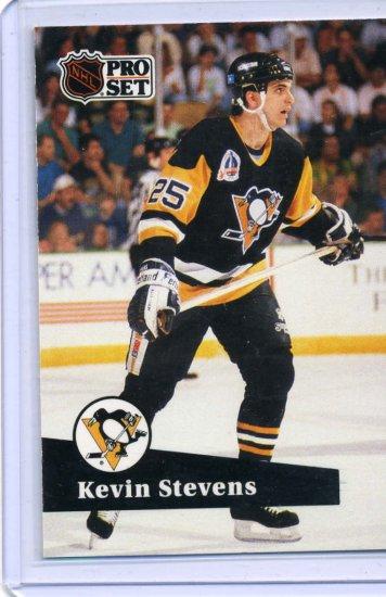 Kevin Stevens 1991/92 Pro Set #185 NHL Hockey Card Near Mint Condition