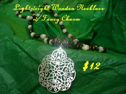 Wood Beads with Charm