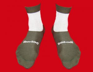 STOCK#18 [L] SOCKS VOODOO - KHAKI/WHITE,  SHORT