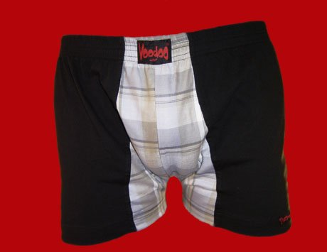 STOCK#4 [XL] BOXER NORMAL RISE - VOODOO FIRE - BLACK/MULTICOLOR, FITTED