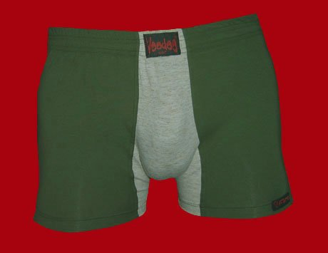 STOCK#7 [L] BOXER NORMAL RISE - VOODOO FIRE - KHAKI/GREY, FITTED