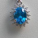 Sterling Silver Oval Blue Topaz CZ Pendant and Chain