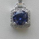 Sterling Silver Square Tanzanite CZ Surrounded by White CZS Pendant and Chain