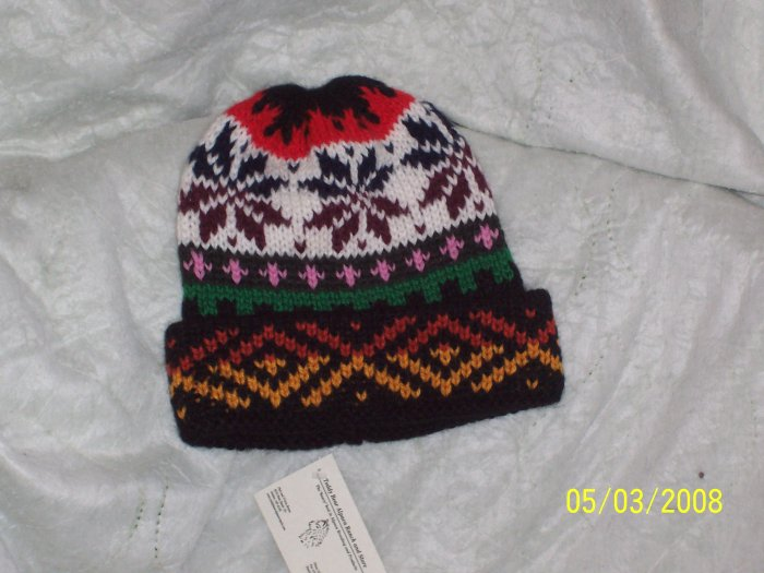 Alpaca Full Color Double Knitted Cap with patterns