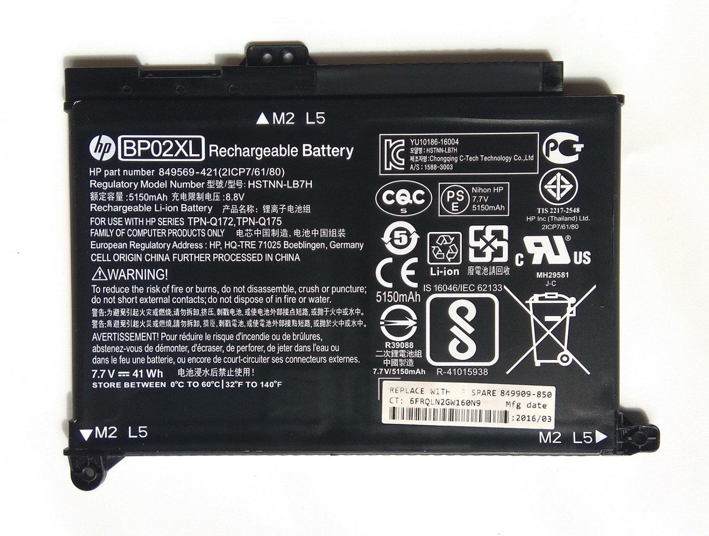 HP BP02XL Battery HSTNN-UB7B TPN-Q175 BP02041XL 849569-542 849569-543