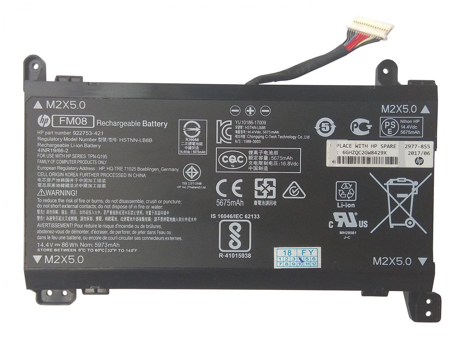Genuine 922977-855 FM08 Battery HSTNN-LB8B For HP Omen 17-an075tx 17-an076tx
