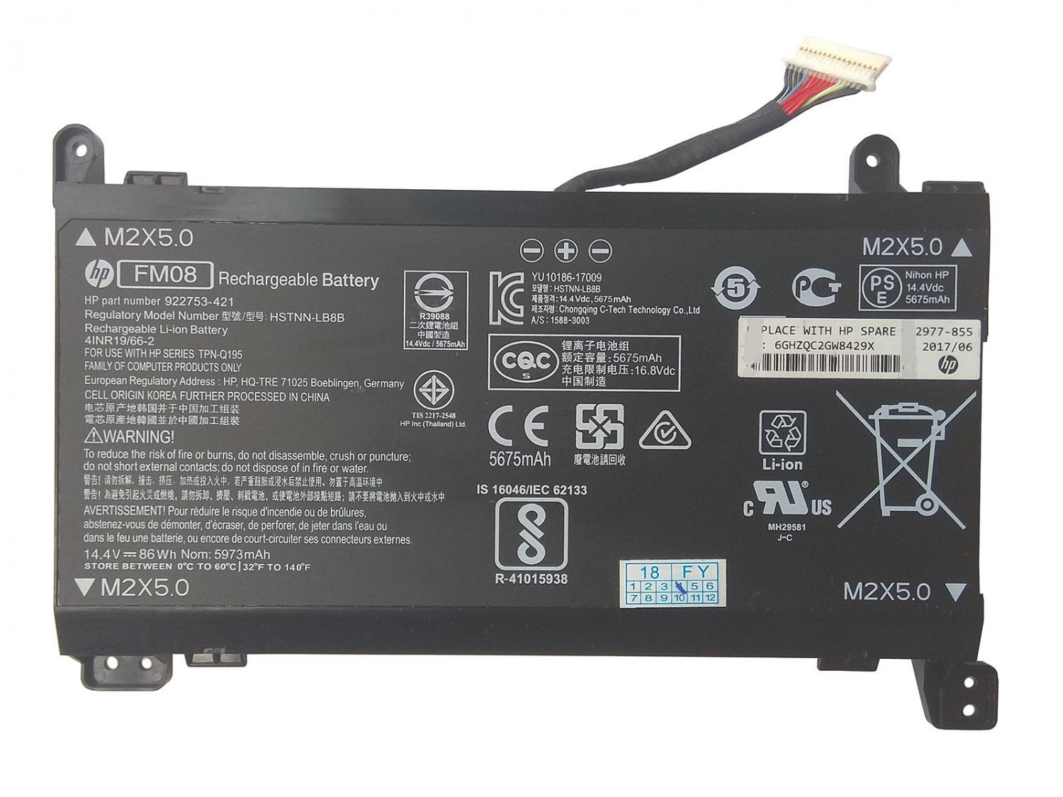 Genuine 922976-855 FM08 Battery TPN-Q195 For HP Omen 17-an039ng 17-an039tx