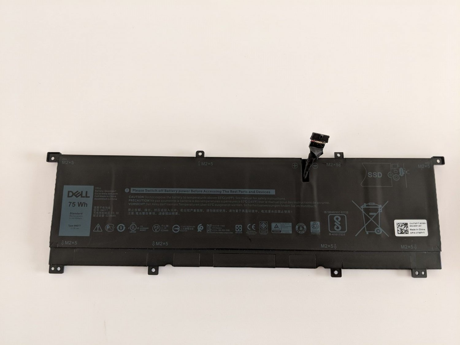 8N0T7 Dell Precision 5530 2-in-1 XPS 15-9575-D1605TS XPS 15-9575-D1805TS Battery
