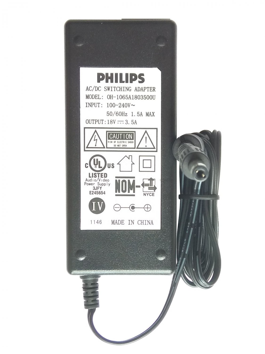 18V 3.5A Replace 18V 3.3A MSP-Z3300IC18.0-60W Moso Switching Power Adapter