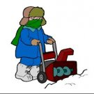 Man Snowblowing Return Address Labels