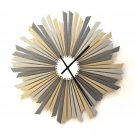 The Sirius L -  large size stylish silver / gray wooden wall clock, a piece of wall art