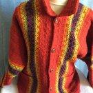 Vintage Ladies Handmade Loom Woven Rainbow Buttondown Drawstring Winter Sweater
