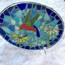 Glass Mosaic Plaque Picture Nature Wall Hang Hummingbird Artisan HandCrafted Home Decor