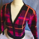 Vintage Ladies Woven Hand Knit Plaid 100% Wool Sweater By Westwood V-Veck