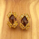 Vintage Chocolate Brown And Canary Yellow Costume Jewelry Clip On Earrings