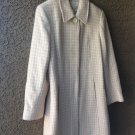 Creamsicle Pastel Pink & White Houndstooth Plaid Liz Claiborne Full Length Coat