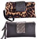 Rivet Wallet Clutch Zipper Purse