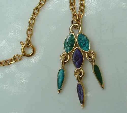 Purple Green Enamel Pendant Necklace Sparkling Jewelry