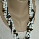 Black White 4-Strand Bead Necklace Multi-Strand Vintage Jewelry
