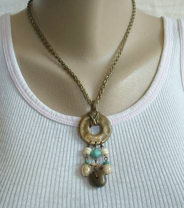 Indian Style Drop Necklace Turquoise Picture Jasper Gemstone Jewelry