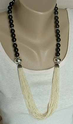 20-Strand White Seed Black Bead Necklace Vintage Jewelry