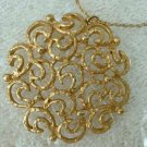 Openwork Floral Pendant Necklace GP Vintage Jewelry Designer Quality
