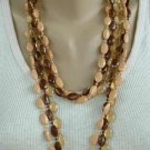 Vintage Apple Juice Brown Lucite Molded Triple Strand Bead Necklace Jewelry