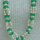 Triple Strand Faux Pearl Green Bead Necklace Vintage Jewelry