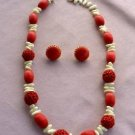 Big Bead 28-inch Necklace Clip Earrings SET Red White Straw Holiday Jewelry