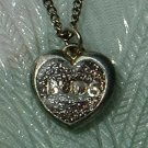 Glitter 'BUDS' Heart-Shaped Pendant Necklace 1970s Vintage