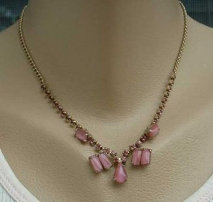 Pink Givre Pink Rhinestone Necklace 16 inches Vintage Jewelry