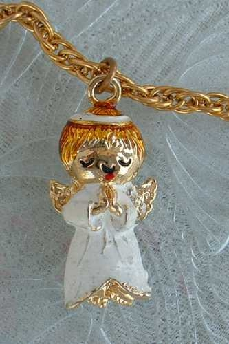 Enameled Angel Pendant Necklace White Red Praying 24-inch chain