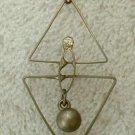 Retro Art Deco Geometric Pendant Necklace Rhinestone 23.5 inches