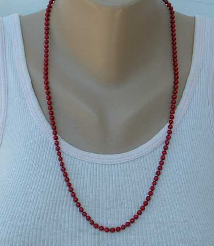 Red Metal Bead Necklace Signed 24-inches long Vintage Jewelry
