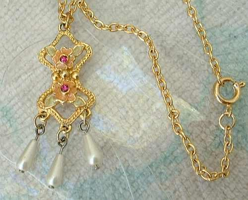 Edwardian Style Pendant Necklace Poured Glass Red Ruby Rhinestones Drop Pearls