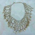 Vintage Pearl Bib Collar Necklace Unusual Metal Connectors