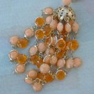 Peach Topaz Tassel Wire Wrap Bead Necklace Waterfall Style Jewelry