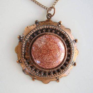 Copper Faux Sunstone Pendant Necklace Vintage Jewelry