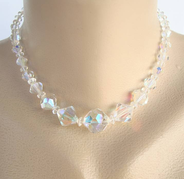 Swarovski Glass AB Crystal Choker Necklace Pink Green Yellow Blue 15.5-inches
