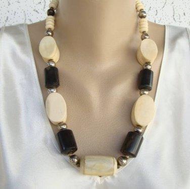 Chunky Bone Necklace Cyclinders White Dark Brown Vintage Jewelry