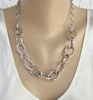Brighton Set Embossed Rhinestone Loops Necklace Earrings Exquisite Jewelry