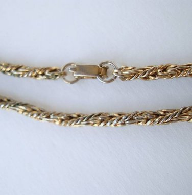 Closely Woven Braided Chain Necklace 29 Inches Vintage Jewelry