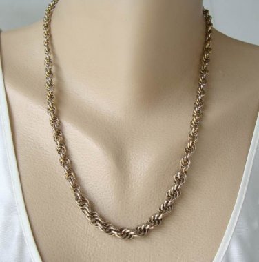 Thick Woven Rope Style Chain Necklace Antiqued Goldtone Vintage Jewelry