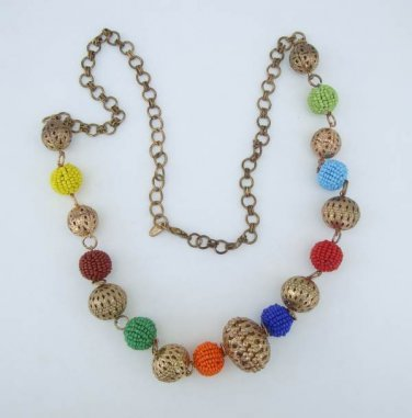 CGM India Colorful Seed Bead Covered Openwork Goldtone Necklace Unusual Jewelry IN8878