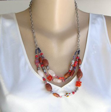 Colorful Glass Swag Necklace Lampwork Gemstone Multistrand Jewelry