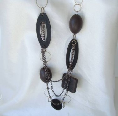 Retro Long Swag Necklace Wood Geometric Shapes Vintage Jewelry